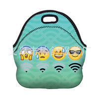 Wholesale Expressions Clothing - Lunch Box Bag HD Green Diving Material Cartoon Emoji Cute WIFI Facial Expression Portable Picnic Thermal Insulation Bags 19js F R