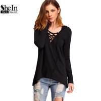 Wholesale Dip Hem - Wholesale- SheIn 2016 Spring Women Dipped Hem Hooded Tops Plain V Neck Lace Up Tees Long Sleeve Casual Loose T-Shirt