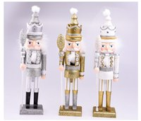 Wholesale Christmas Nutcracker Ornaments - 42cm the Nutcracker soldiers Christmas home decoration gift for kids woodcraft ornaments with glitter 2017 new