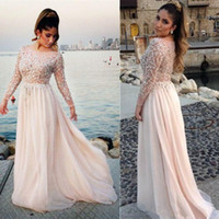 Wholesale See Through Chiffon Tops - Long Sleeve 2017 Prom Dresses Plus Size Beaded See Through Top Chiffon Floor Length Party Gowns Fashion Modern Custom Size