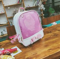 50pcs / lot Nueva Harajuku Candy Color PVC Transparente Bow Backpack Flor Zipper mujeres Despejar Daily Mochila Girls School Bag