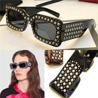 Wholesale Rectangular Sunglasses - Limited style fashion sunglasses 0146 new avant-garde design style Rectangular-frame acetate sunglasses with pearls top quality uv400 lens