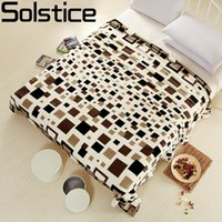 Wholesale Flannel Sheets Full - Wholesale- 2017 Family bedclothes Flannel blankets Single Double Bed Blanket Adults lattice bed sheets sofa Travel camping Portable Blanket