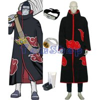 Anime Naruto Akatsuki Kisame Hoshigaki Deluxe Cosplay 6 in 1 completa insieme combinato (+ Mantello T-shirt + pants + headband + Boots + Ring)