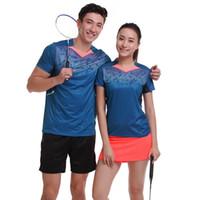 Wholesale Sports Skirt Tennis - New man   woman tennis badminton wear sportswear uniforms uniforms (shirt + shorts   skirt) summer air sport shirt free shipping