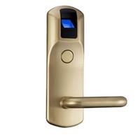 puertas biometricas al por mayor-Al por mayor-cerraduras de puerta huella dactilar biométrica Seguridad en el hogar RFID Control de acceso Lector de puerta rfid digital Cerraduras de alta calidad para el hotel