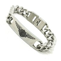Wholesale Eagle Wing Charms - Support Dropship Newest 22cm Lenght Biker Bracelet 316L Stainless Steel Fashion Jewelry Eagle Wings Cool Biker Style Bracelet