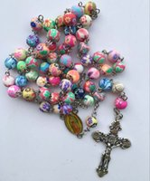 Fashion <b>Cross Jesus Necklace</b> Avec Polymer Clay Rosary Beads Christian Christian Colour Crucifix Collier Pendentif