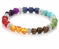 Wholesale Tibet Silver Toggle Clasps - Factory direct wholesale colorful beads volcano Turquoise matte agate Beaded Stretch Energy beads bracelet