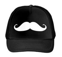 Wholesale Red Black White Mustache - Wholesale- Mustache Print Baseball Cap Trucker Hat For Women Men Unisex Mesh Adjustable Size Drop Ship Black White M-26