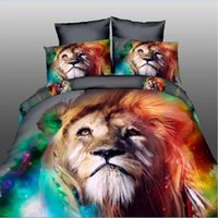 Wholesale Washed Silk Quilt - 2017 HOT! 3D Home Textiles Active Printed Lion Panda pattern silk 100% cotton fashion comfortable quilt cover pillowcases bedding sets