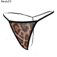 Wholesale Super Mini Underwear - Super Mini micro bikini G-strings Thongs Women's hot sexy Tangas T back transparent Panties Briefs Leopard Underwear