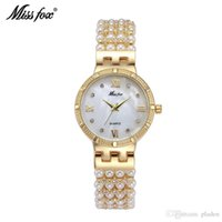 Wholesale Shining Crystal Bracelet Watch - New Fashion Classic Original Desigh shining crystal and pearl decorated Full Stone Dial bracelet ladies modern Roles Replicas Watches