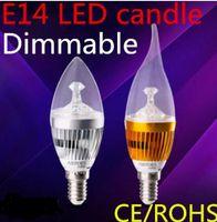 Wholesale Candelabra Bulbs Free Shipping - FREE ship LED Candelabra E12 E14 E27 Bulb 6w 10w Dimmable 110v 220v LED Candle Bulb High Lumen LED Lights Lamp Warm Cool White