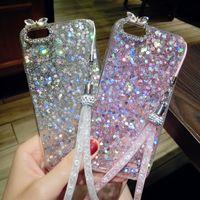 Wholesale Bling Rabbit Iphone - For Samsung galaxy j3 j5 j7 2017 s7 edge s8 plus Luxury Cute Diamond Rabbit long chain yard Glitter bling Rhinestones soft case