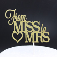 Wholesale-Shiny Gold From Miss to Mrs. Cake Topper pour Wedding Party Cake Decoration Supplies