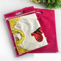 Wholesale Plastic Shopping Bags For Clothes - Wholesale- High quality one side clear zipper plastic bag one side non-woven bags for shopping children's clothing T shirt retail packaging