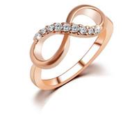 ingrosso partita in metallo libero-Fortunato 8 parole cristallo di zircon di metallo El anillo anello tutto-fiammifero semplice anello gioielli lusso temperamento donna spedizione gratuita