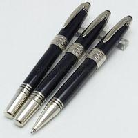 Wholesale Pen Nib F - Luxury stationery monte MB JOHN F. KENNEDY 18K NIB fountain pen black resin silver JFK clip pen office supplies gift