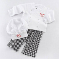 Wholesale Boys Clothing Sets Retail - Retail Baby Boys Three Piece Clothing Sets Baby Chef Long Sleeve Plaid Fashion Outfits With Hats Infant Clothing 0-2Y E16181