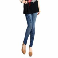 Wholesale Stretch Jeans Wholesale - Wholesale- LOWEST PRICE Sexy Women Stretch Faux Denim Jeans Leggings Skinny Slim