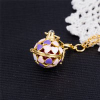 Wholesale Diy Gothic Jewelry - Gothic Fit Pandora Jewelry Angel Cage Love Heart Necklace Jingle Bells 6 Colors Gold plated Pregnancy Ball Pendants Personality DIY Necklace