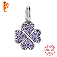 Wholesale Silver Necklace Purple Heart - BELAWANG Authentic 925 Sterling Silver Crystal Heart Charm Clover Purple Cubic Zirconia Beads Fit Original Bracelet&Necklace Fashion Jewelry
