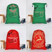 Wholesale Cotton Candy Favors - Christmas Drawstring Bags Santa Sack Backpack for Party Favors Gift and Candy Green Red Color Gift Bags For Thanksgiving Christmas Festival