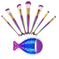 cepillo de escamas de pescado al por mayor-Diseño de la sirena 3D Pinceles de maquillaje Set Big Fish Tail Fundación Powder Eyeshadow Pincel de maquillaje 8pcs / set Contour Blending Cosmetic Scales Brush