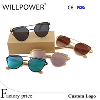 Wholesale Cheap Bamboo Sunglasses - WILLPOWER Wholesale sun glasses 2017 cheap promotion ladies women flat lens shades metal female cateye bamboo sunglasses