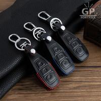 ingrosso caso di chiave dell'automobile di cuoio di ford-10 pz / lotto Cuoio Genuino Remote Control Car Keychain Key Cover Case Per Ford Focus MK3 MK4 Kuga fuga ecosport Nuova Fiesta, Smart Key