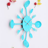 Wholesale Kitchen Clock Utensils - Wholesale- Metal Kitchen Cutlery Utensil Quartz DIY Wall Clock Spoon Fork Ladel Home Christmas Decor A great gift Colorful Free Shipping