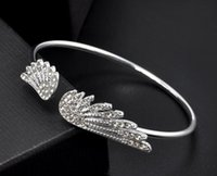 Wholesale Titanium Jewellery Wholesale - New Fashion Trendy Angel wings with rhinestone Bracelet charm Bangles Classic Fashion Jewellery Opening Design Bracelet For Women aa142