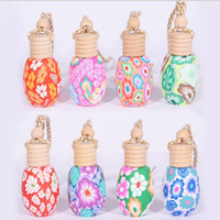 Wholesale Air Craft - MIX DESIGN Craft Car Perfume Bottle Hanging Cute Air Freshener Carrier Home Fragrance Polymer Clay Bottles
