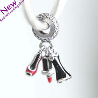 Wholesale Hanging Jewelry Dress - 2017 New Authentic 925 Sterling Silver Lipstick, Dress and Stiletto Hanging Charms Fit Original Pandora Charm Bracelet Women Diy Jewelry