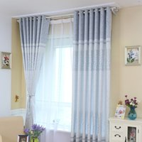 Wholesale Window Curtains Panels Blue - Linen Curtains Living Room Window Treatments Mixed Woven Jacquard Cloth Curtain Blinds Window Drapes 3 Sizes 1 Panel Curtain Cloth