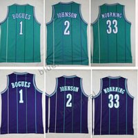 Wholesale Xxl Cheap Clothing - Cheap Men's Throwback Jersey 2 Larry Johnson 1 Tyrone Muggsy Bogues 30 Dell Curry 33 Alonzo Mourning Basketball Clothing Jersey Green Purple