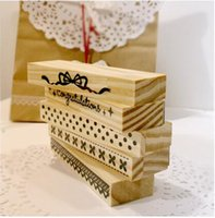 Wholesale Bow Lace Stamp - Wholesale- NEW Lace Wood stamp Set   Multi-purpose   dot & bow stamp   DIY funny work Scrapbooking deco gift JJ0054