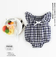 Wholesale New Arrival Baby Rompers - INS baby kids Summer climbing romper new arrivals flare sleeve blue and white plaid romper girl kids romper kids summer rompers 0-2T