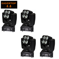 TIPTOP Mini 4XLOT 4 x 15W Led Moving Head Strahl Licht RGBW 4IN1 Kunststoff Shell Free Montageklemme 3 Linse Grad Auto Sound Aktiv