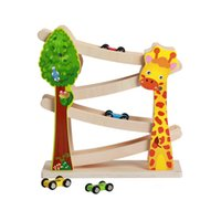 Wholesale Wood Giraffe - Smooth Flawless Cartoon Giraffe Speed Wood Track Glider Car Combination toys Children Kid Small Models Trolley Car Baby Wooden Toy Gift