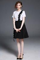 Wholesale Wholesale Green Lei - 2017 summer new fashion temperament Lei Slim T + skirt silk ribbon two sets of women YG 017