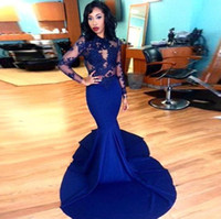 Wholesale See Through For Sale - Hot Sale Blue Satin Mermaid Prom Gowns 2017 Long Sleeves Appliques See Through Vestido De Festa For Formal Dresses Evening