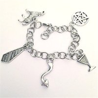 Wholesale Hell Free - 12pcs I Love Crowley the King of Hell Charm Bracelet Supernatural inspired bracelets Team Free Will Jewelry