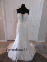 Wholesale beaded fit flare gown - Dramatic Fit and Flare Mermaid Lace Wedding Dress Sweetheart Hand Beaded Appliques Vestido De Noiva Bridal Gown Custom Made