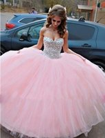 Wholesale Ballgown Cheap Dresses - Pretty Beaded Big Ball Prom Quinceanera Dresses For 2017 Sweet 16 Formal Ballgown Girls Wear Tailor Made Cheap Corset and Masquerade Gowns