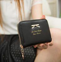 Wholesale Cute Korean Cards - 2016 korean cute Bow leather trifold slim mini wallet women small clutch female purse coin card holder dollar bag cuzdan