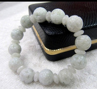 Wholesale Best Jade Bracelet - Wholesale- shitou 00859 BEST JEWELRY Chinese 100% Natural Jade (Jadeite) Carved Beads Bracelet