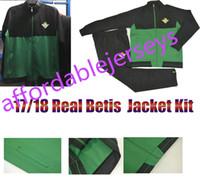 Wholesale Men Green Army Jacket - Top Thai Quality 2017 2018 Real betis Soccer Jacket Kit Joaquin Sanabria Soccer Jacket Kits 2017 2018 Real betis Foot survetement