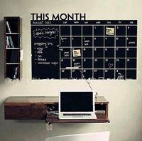 Wholesale Monthly Blackboard Sticker - New Fashion Home Office Decoration Chalk Board Blackboard Monthly Calendar Wall Sticker TOP1702
